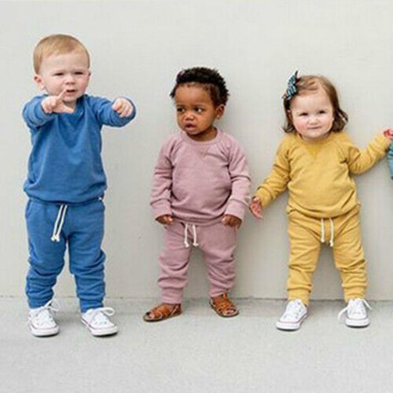 Базовый стильный спортивный костюм унисекс для новорожденных девочек и мальчиков, спортивный комплект, топ + штаны, комплект одежды чистого...