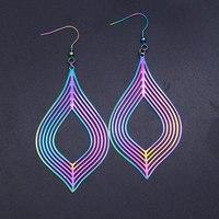 Super Unique arc-en-ciel couleur acier inoxydable mode géométrique goutte d'eau boucle d'oreille pour les femmes à la mode bijoux livraison directe