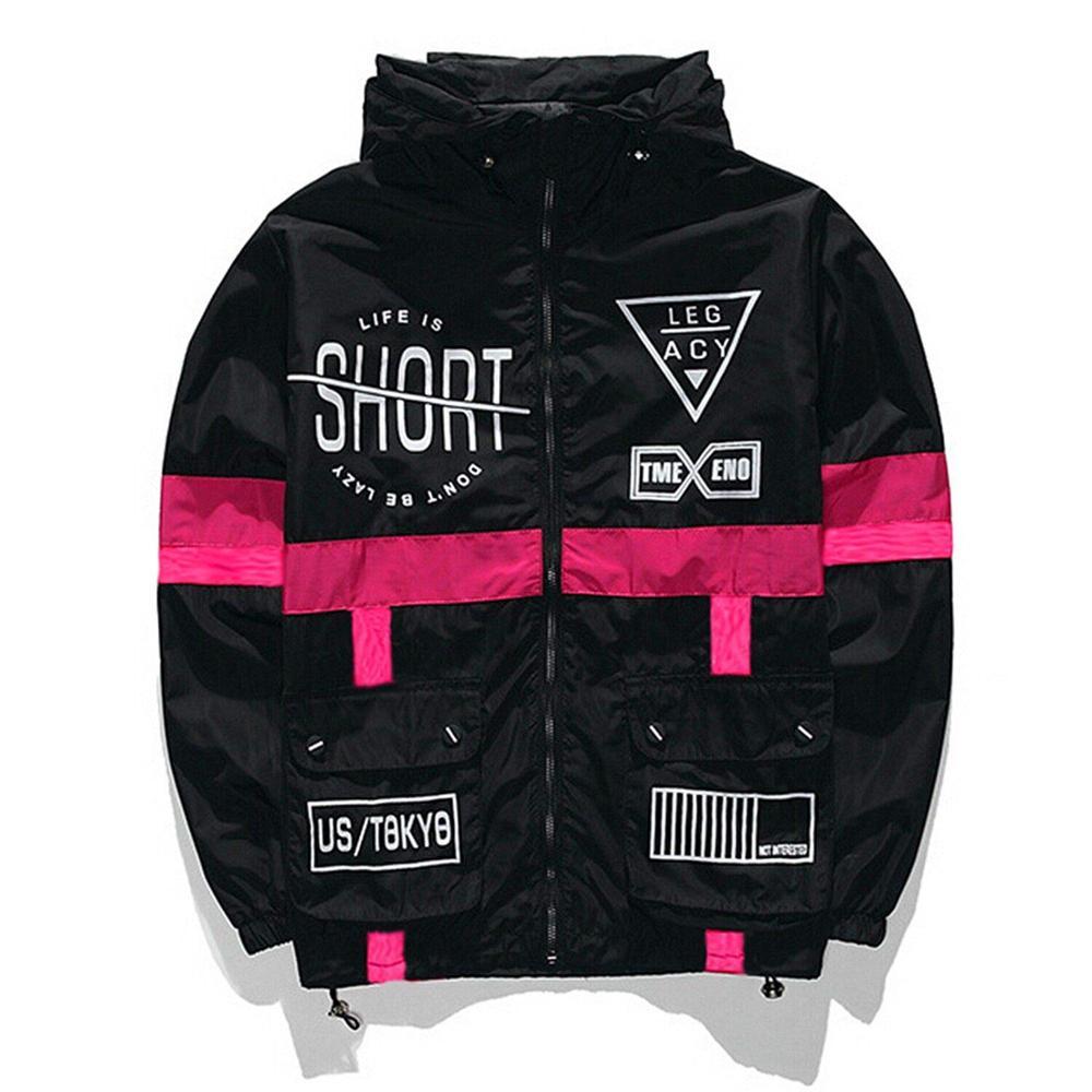 New Spring Autumn Bomber Hooded Jacket Men Casual Slim Patchwork Windbreaker Jacket Male Outwear Zipper Thin