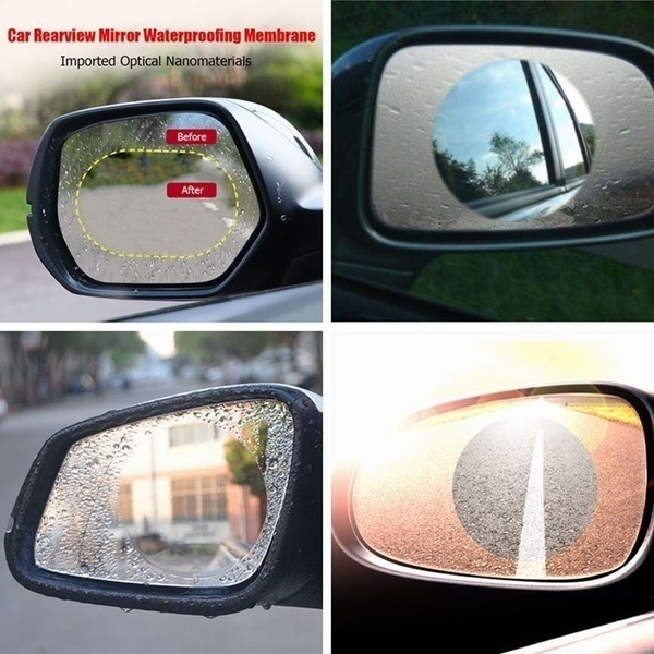 2Pcs/set Rainproof Car Accessories Car Mirror Window Clear Film Membrane Anti Fog Anti-glare Waterproof Sticker Driving Safety 2