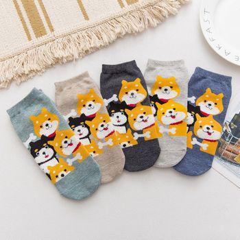Kawaii Cartoon Dog Cotton Ankle Socks Funny Shiba Inu Fashion Female Boat Socks Invisible Unisex japanese korean style women dog pattern invisible socks 3pairs