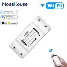 DIY WiFi Smart Light Switch Universal Breaker Timer Wireless Remote Control Works with Alexa Google Home Smart Home 1 Piece cheap MoesHouse APP remote control Plastic ROHS 2 year NF101 APP control Neutral+Live wire AC 110V-250V 50-60Hz 1800W IEEE802 11b G N