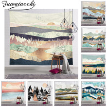 Fuwatacchi Wall Tapestry Hot Mountain Forest Tree Tapestry Sunset Nature Landscape Wall Hanging Decor For Bedroom Home Decor sunset forest horse pattern wall art tapestry
