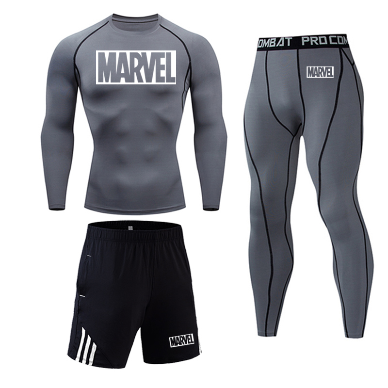 MARVEL Men's Fitness Set Compression Track Suit Jogging Suits Full Man Tracksuit Tights Dry Fit T Shirt Running Pants Base Layer Set