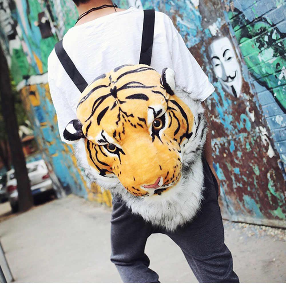 Милый животный женский плюшевый рюкзак 3D Тигр Лев Мужская сумка для книг женская сумка через плечо парные забавные дорожные сумки маленький рюкзак