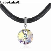 Labekaka колье с кожаной веревкой, украшенное кристаллами Swarovski, уникальные вечерние ювелирные изделия с цепочкой для коктейлей