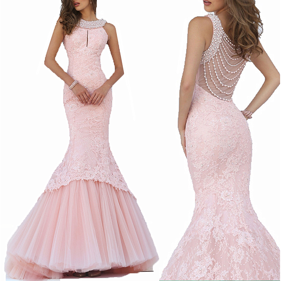 Luxury Pearls Mermaid 2020 Vestidos De Baile Sequins Pink Lace Long Prom Evening Gown Sweep Train Mother Of The Bride Dresses