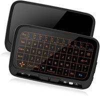 Mini teclado sem fio touchpad combo com 3 nível backlit recarregável tela cheia mouse controle remoto para a caixa de tv android  iptv