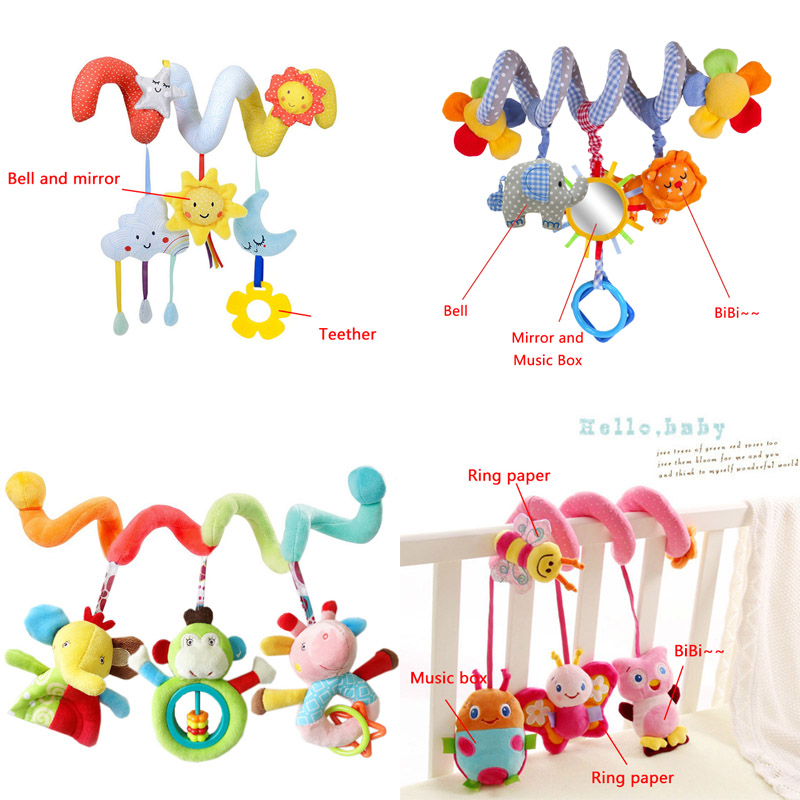 Baby Stroller Toys Cute Animals Rattle Bed Crib Car Hanging Stroller Spiral Plush Appease Toys Teether Developmental Rattles Toy