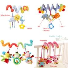 Poussette pour bébé, jouets animaux mignons, hochet, lit, voiture suspendue, spirale en peluche, jouets apaisants, anneau de dentition, hochet de développement