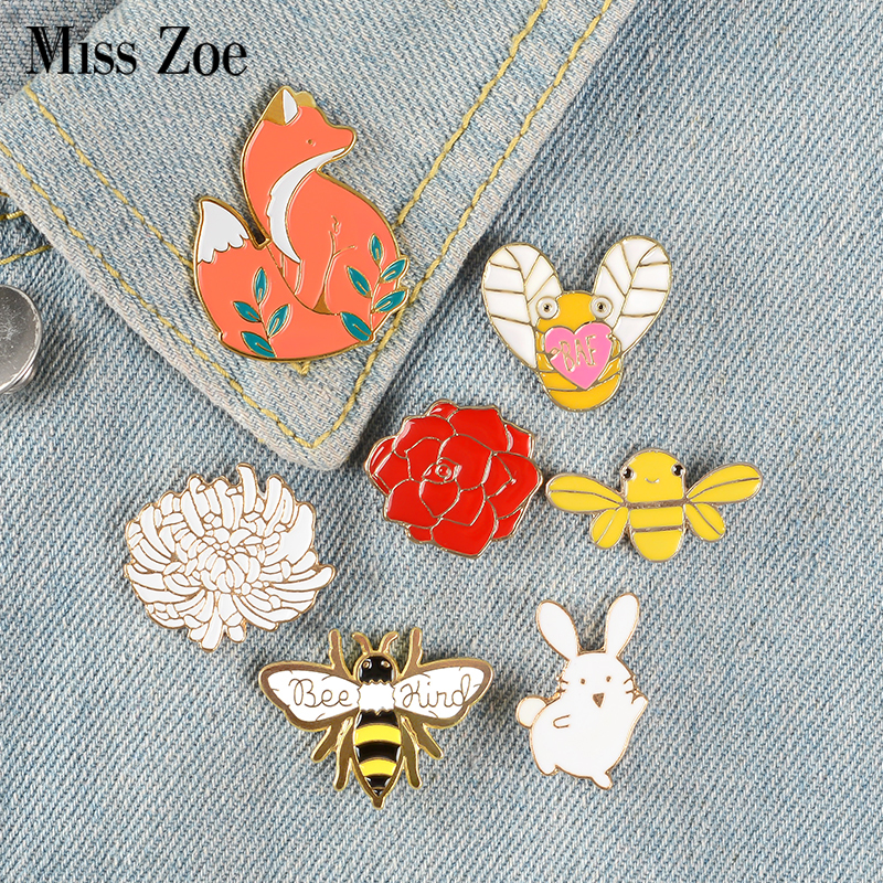 Forest Elf Collection Enamel Pins Cartoon Animals Brooches Fox Bee Rabbit Flowers Lapel Pin Custom Badges Gift for Kids Girl 1