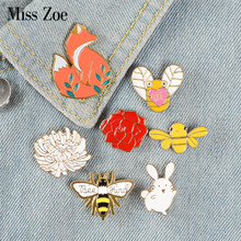Forest Elf Collection Enamel Pins Cartoon Animals Brooches Fox Bee Rabbit Flowers Lapel Pin Custom Badges Gift for Kids Girl(China)