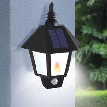 Two Modes Solar Garden Flame Light Led Sensor Wall Lamp Solar Street Lights Power Outdoor Waterproof Luminaria Battery Lamps