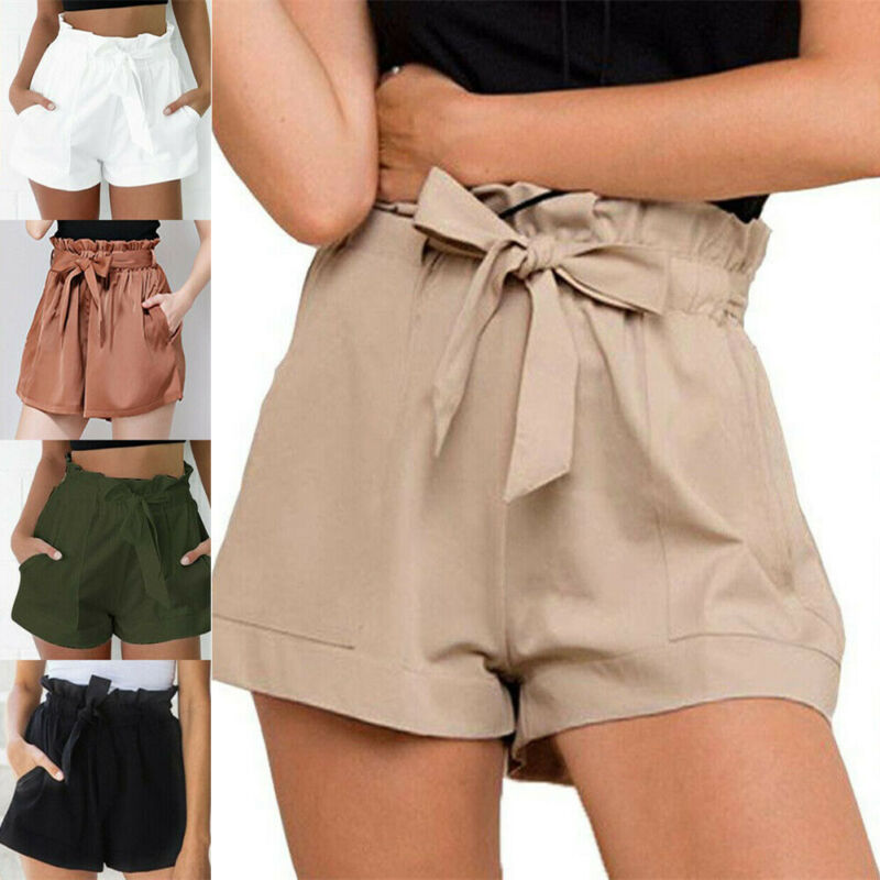 2019 Hot Summer Womens Casual Shorts Ladies Beach High Waist Bandage Shorts Fashion Woman Female Streetwear S-XL
