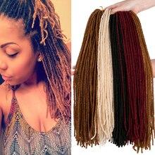 Мягкий вязание крючком дреды волосы наращивание 18 дюйм тонкие пряди афро вязание крючком волосы синтетика волосы плетение бордовый