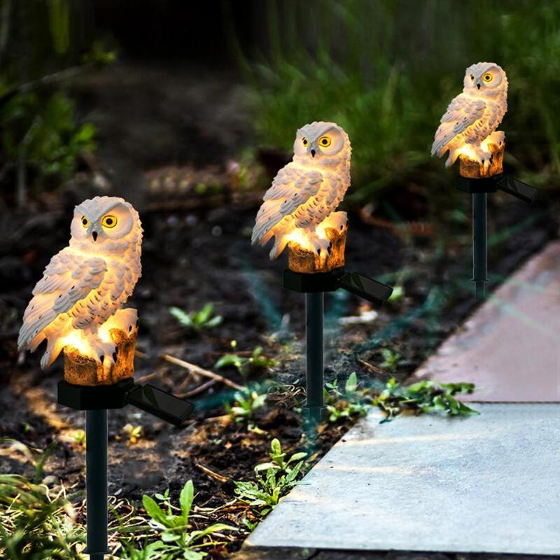 Garden Solar Power LED Owl Lawn Light Outdoor Waterproof Landscape Lamp Artificial Owl Light Garden Tools Gadget