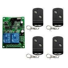 Dc12v 24v 2ch canais 2 ch rf sistema de interruptor controle remoto sem fio, 315/433 mhz transmissor e receptor/garagem portas/lâmpada