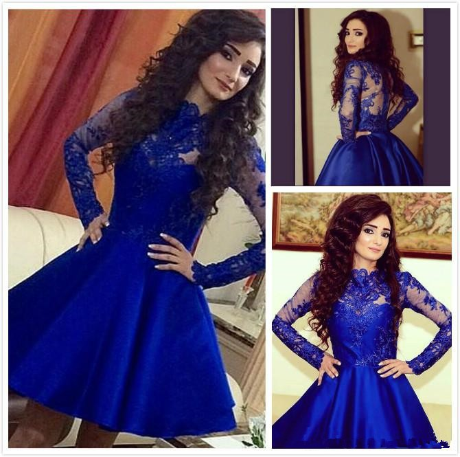 High Neck Long Sleeve Royal Blue Homecoming Sheer Back Satin Lace Short Blue Prom Robe De Bal Courte Mother Of The Bride Dresses