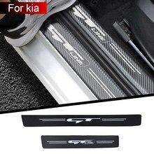 4 pçs limiar do carro proteger adesivos de carro para kia gt gtline ceed forte rio stinger seltos k3 kx5 k4 k5 etiqueta do carro acessórios