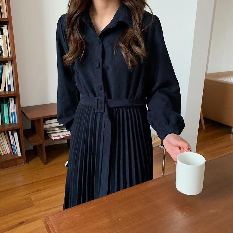 Hd194928cdcad4da0b6dccef30f3e045fP - Autumn Turn-Down Collar Long Sleeves Pleated Solid Midi Dress