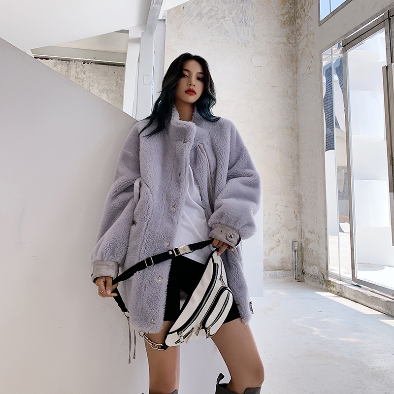 Real Fur Coat Korean Motorcycle Winter Coat Women Sheep Shearing 100% Wool Jacket Women Clothes 2020 Manteau Femme 205 YY1053