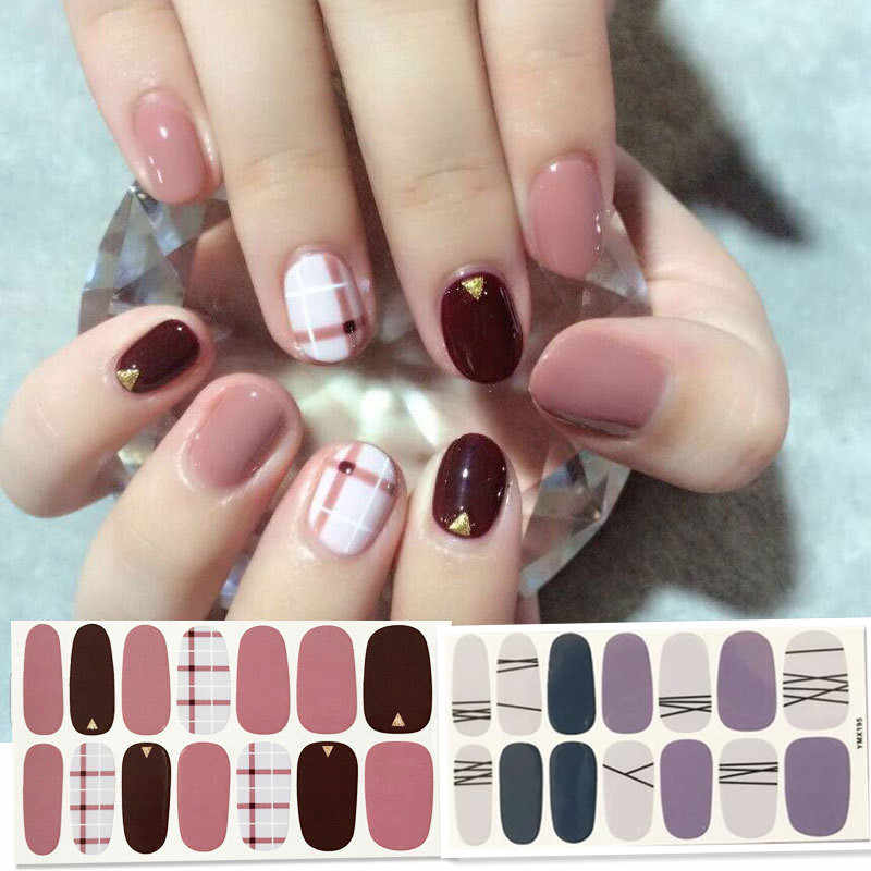14 tips/vel Schoonheid Nail Art Stickers Volledige Cover Sticker Wraps Decoraties DIY Manicure Slider Nail Vinyls Lijm Nagels decals Nail Sticker