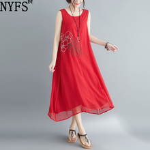 NYFS 2020 New Summer dress Vintage embroidered Nylon Long Dress