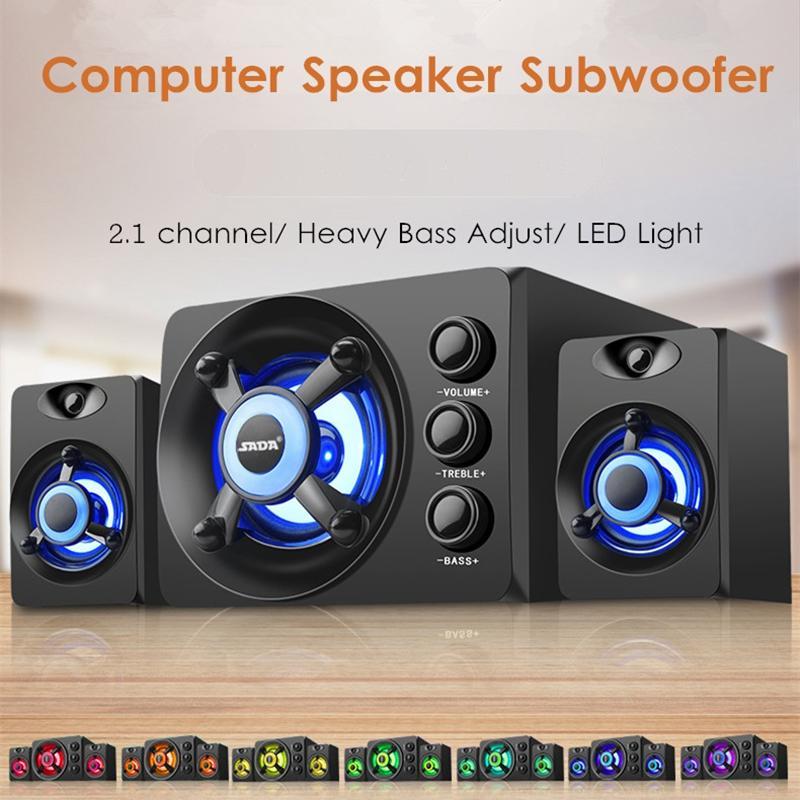 2.1 Wooden Speaker Desktop Computer Speaker Heavy Bass Subwoofer LED Light Luminous Speaker USB Power Supply For PC Laptops