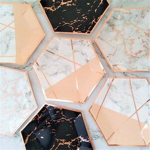 Image 5 - ฟอยล์สีทองหินอ่อนทิ้งบนโต๊ะอาหารกระดาษแผ่นถ้วยเด็กทารกโปรดปรานกระดาษดื่ม Straws งานแต่งงานอุปกรณ์