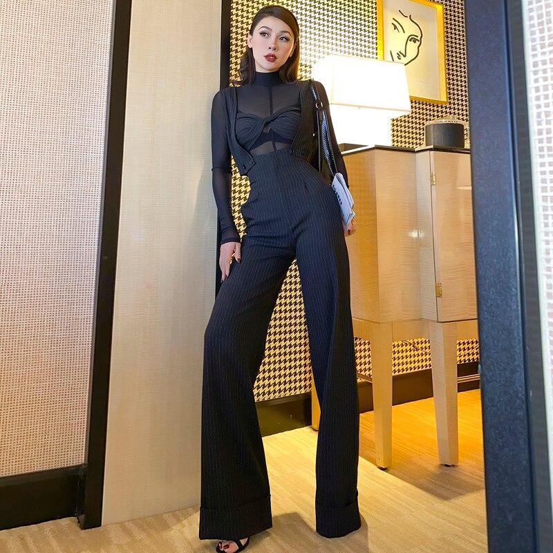Le Palais Vintage 2020 Original Multiple Wear Black Dark Striped Overalls Pants High Waist Fashion Handsome Women's Clothing