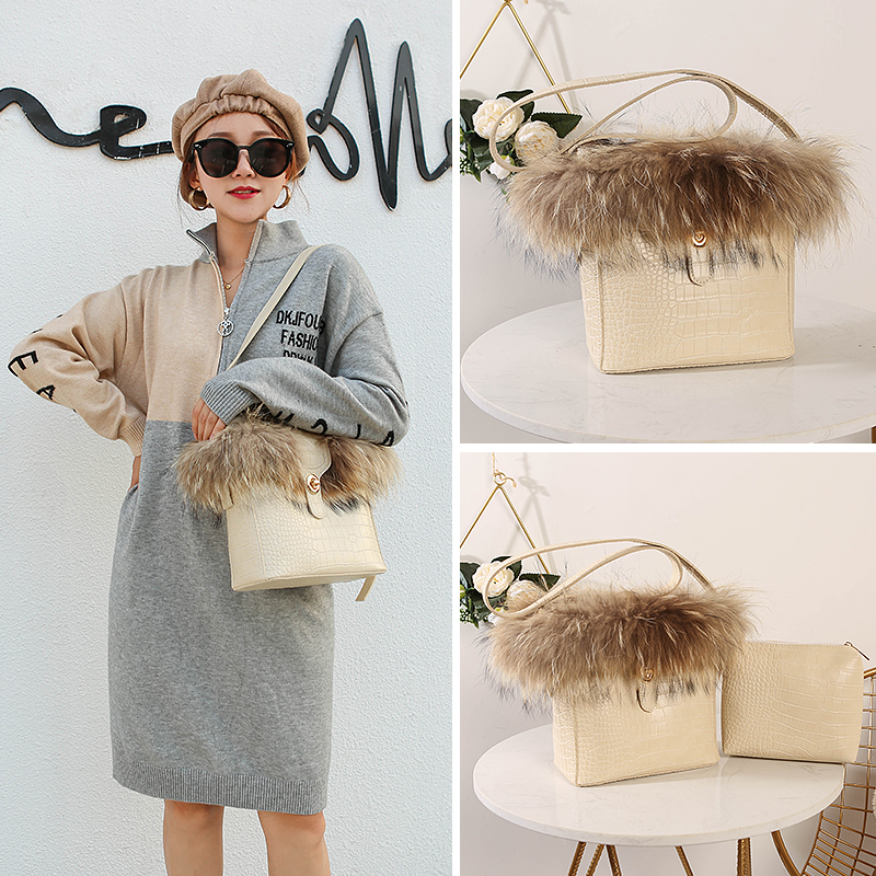 brand luxury Rabbit fur Women handbag female designer bucket shoulder bags Quality Stone print PU leather lock Women's Totes