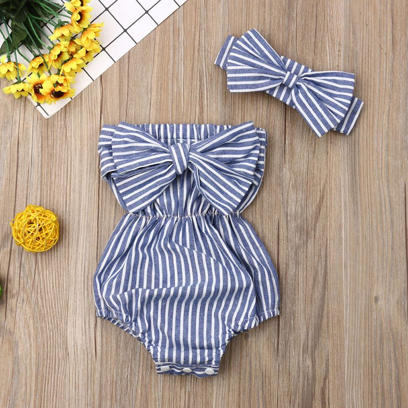 Toddler Baby Girls Cotton Fashion Bow Striped Hair Band Bodysuit Infant Newborn Baby Sleeveless Jumpsuit Outfit Summer