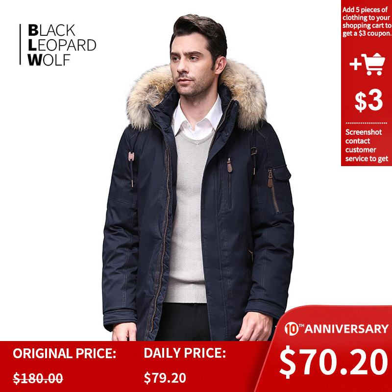 Blackleopardwolf 2019 Winter Jacket Men Winter Fashion Parka Detachable New Long Alaska Coats With Fur Raccoon BL-6601