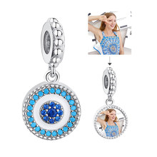 Fashion Jewelry Custom Photo Beads Clear CZ Round evil eye Pendant Charms for Women Female 925 Sterling Silver Jewelry 2019(China)