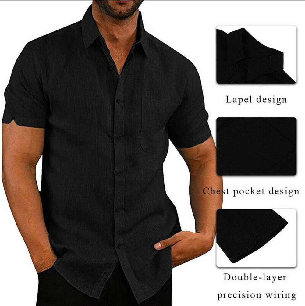 럭셔리 남성 짧은 소매 턴 다운 칼라 셔츠 캐주얼 루스 리넨 셔츠 블라우스 탑 가슴 포켓 디자인 블랙 화이트 그레이 블루