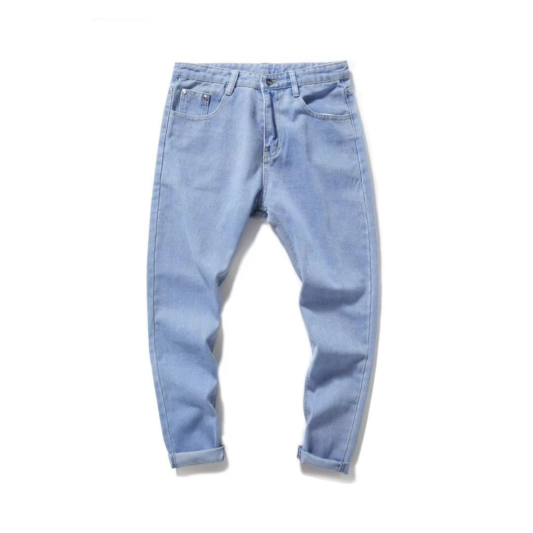 2018 Spring New Style Jeans Men's Korean-style Trend Slim Fit Pants Versitile Fashion Teenager Capri Pants Sub-
