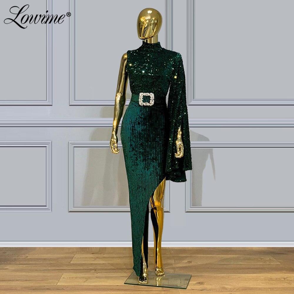 Dubai Green Sequin Evening Dress 2020 Custom Celebrity Party Dress Robe De Soiree Saudi Arabia High Split Side Sexy Prom Dresses