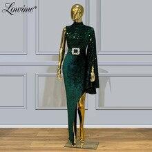 Dubaj zielona suknia wieczorowa z cekinami 2020 niestandardowa impreza celebrytów sukienka De Soiree Arabia saudyjska wysoka podzielona strona seksowne sukienki na bal