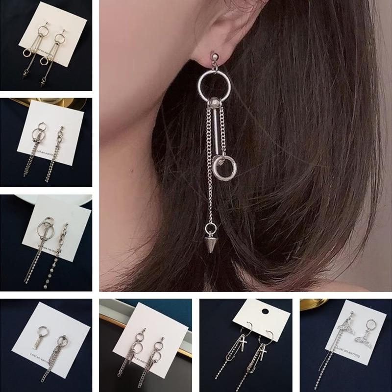 Simple Metal Tassels Chain Pin cross Pendant Earrings For Women Girls Geometric Asymmetry Personality Ear Circle Ear Jewelry(China)