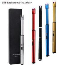 Электрическая дуговая зажигалка, кухонная зажигалка, перезаряжаемая USB, длинная зажигалка, свеча, вращение на 360, без запаха, Беспламенное ветрозащитное USB Зажигалка