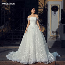 J66535 jancember vintage wedding dress 2019 ball gown princess off the shoulder lace up ruffles marriage dress vestido noiva(China)