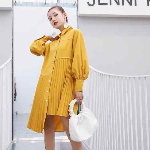 2019 Asymmetry Personality Full Sleeve Women Shirt Single-breasted Hot Sale Long Section Blouse Clothes DC474