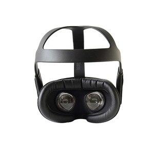 Image 2 - Almohadilla de máscara de ojos para casco VR Oculus Quest, gafas de realidad virtual, a prueba de sudor, cubierta facial de franela de cuero transpirable, soporte para máscara de ojos