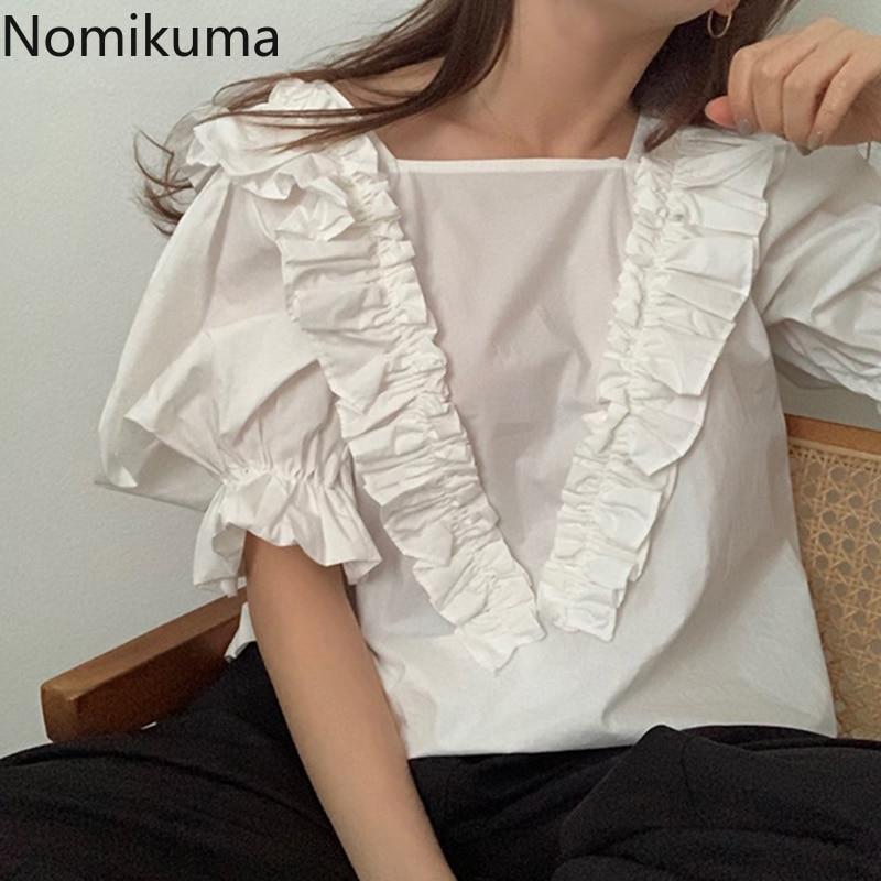 Nomikuma Puff Half Sleeve Women Doll Shirt Ruffle Patchwork Sweet Korean Blouse Tops Square Collar Causal Blusas Femininas 6A307