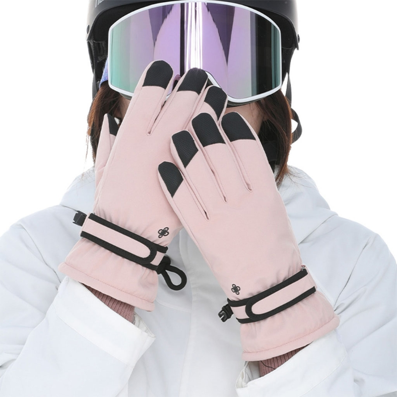 Women Winter Waterproof Touchscreen Snow Gloves Floral Embroidery Thermal Insulated Warm Non-Slip Snowboard Mittens