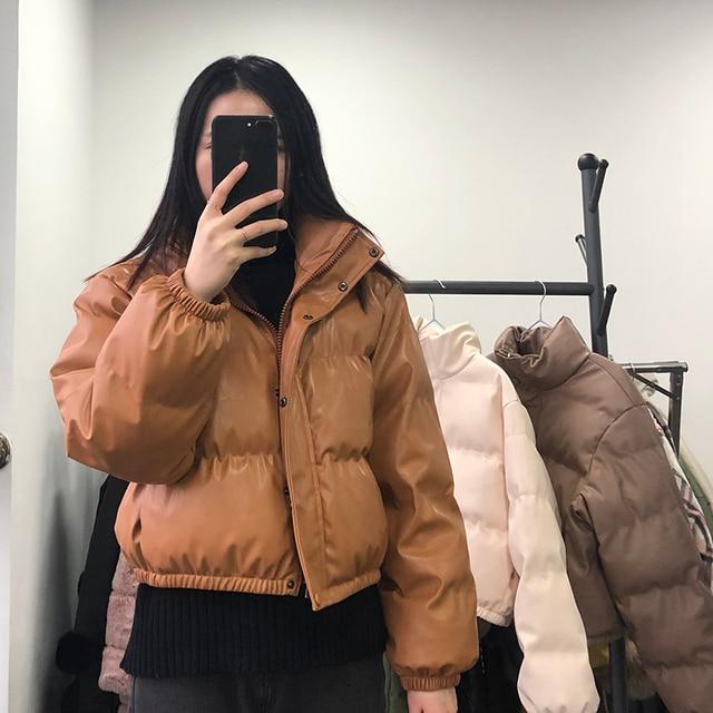 CP Winter Thick Warm Short Parkas Women Fashion Black PU Leather Coats Women Elegant Zipper Cotton Jackets Female Ladies 6