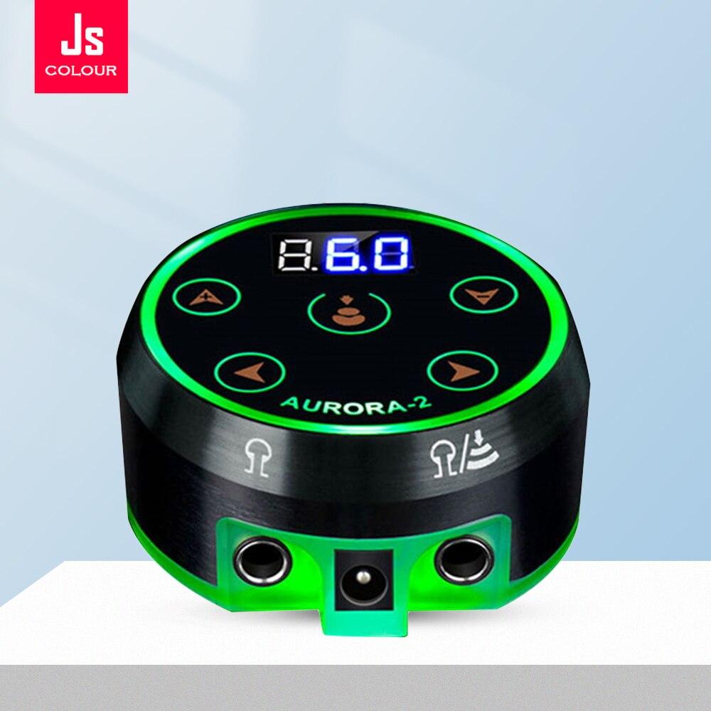 Блок питания для тату-ручки, миниатюрный источник питания AURORA с ЖК-дисплеем, зеленое цветное напряжение, с адаптером для катушки и вращающег...