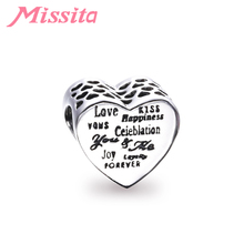 MISSITA Warm Family Series Love Kiss Charm fit Pandora Bracelets Necklaces for Jewelry Making  Accessories