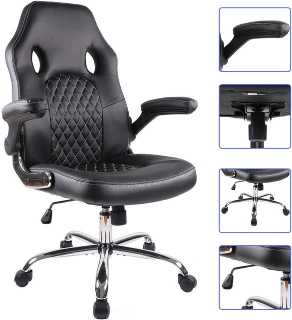 Gaming office chair Task Swivel Executive Leather Gaming Chairs High Back with Padded Seat Armrests and Rolling Casters 5