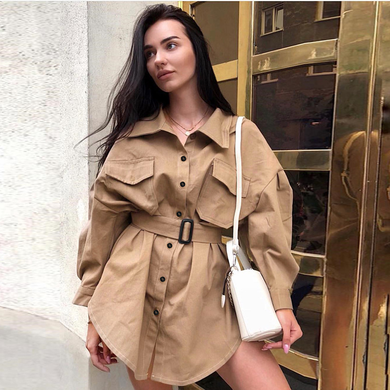 Long Batwing Sleeve Mini Dress Women Office Lady Shirt Dresses Sashes Vintage Tunic Dress Khaki 2019 New Outerwear Casual